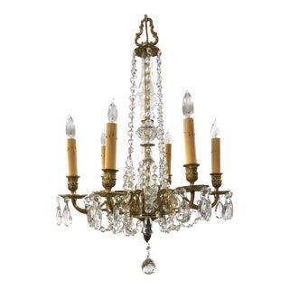 Mid Century Glass Column Brass & Crystal 6-Light Chandelier For Sale