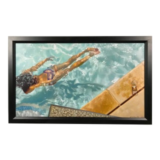 "Carrie Graber ""Cool"" Giclee on Canvas Signed Numbered 1/25 Swimming Pool Modern Art For Sale"