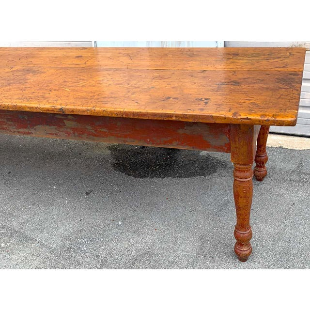 Late 19th Century Southern Red Paint and Chestnut Farm Table For Sale - Image 9 of 13