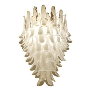 Mid century modern Mazzega white/clear Murano glass petals chandelier