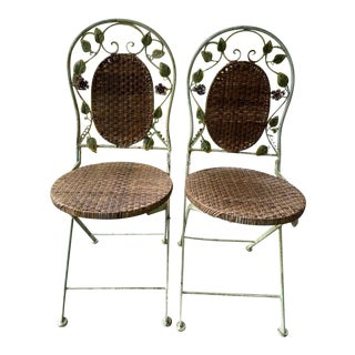Vintage Wrought Iron Folding Garden Chairs - Set of 2 For Sale