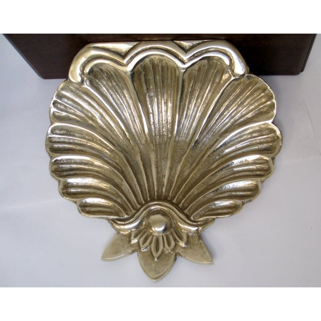 Brass & Wood Shell Shaped Wall Brackets - A Pair - Image 3 of 7
