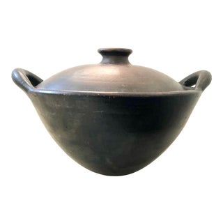 Japanese Clay Cooking Serving Lidded Pot With Handles Black Brown Glazed Handmade Antique For Sale