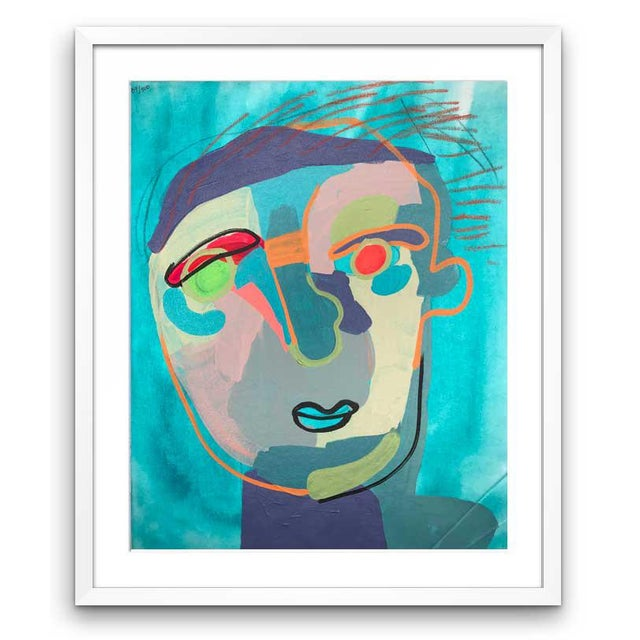 This abstract portrait is by contemporary artist Linda Ward of Detroit. This portrait is #487 out of a series of 500...