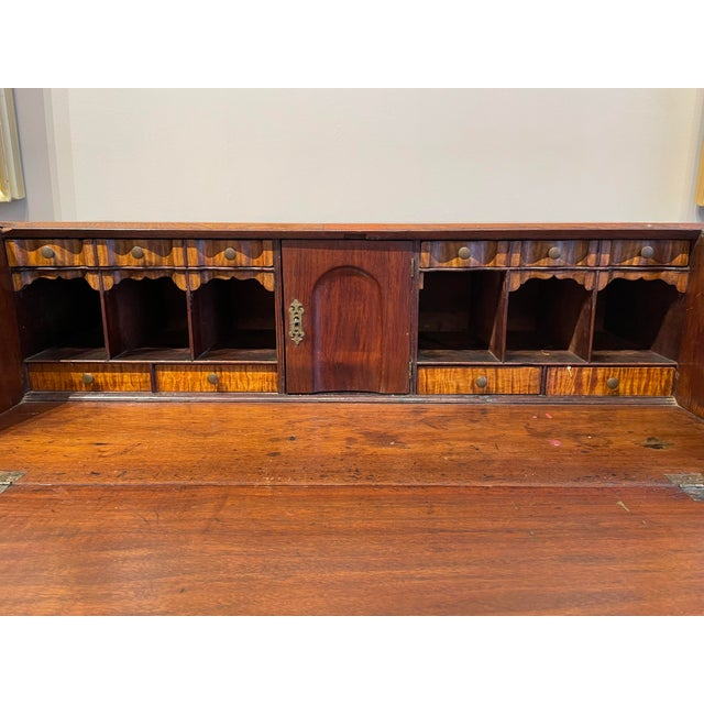 Late 18th Century Chippendale Tiger Wood Slant Lid Desk For Sale - Image 5 of 11