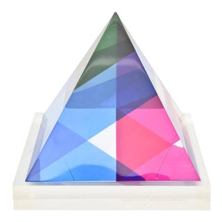 Signed and Dated Vasa Mihich Laminated Lucite Triangle Sculpture For Sale