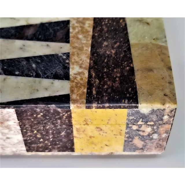 Beige Vintage Geometric Soapstone Marble Tessellated Jewlery or Keepsake Box - Mid Century Modern Abstract Art Deco Boho Chic For Sale - Image 8 of 11