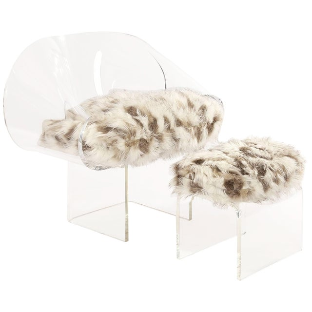 1970s Robert Van Horn Lucite Ribbon Chair and Ottoman - a Pair For Sale