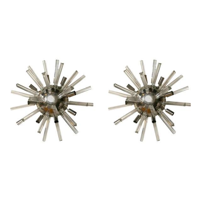 Italian Art Deco Spherical Crystal Sconces- A Pair For Sale