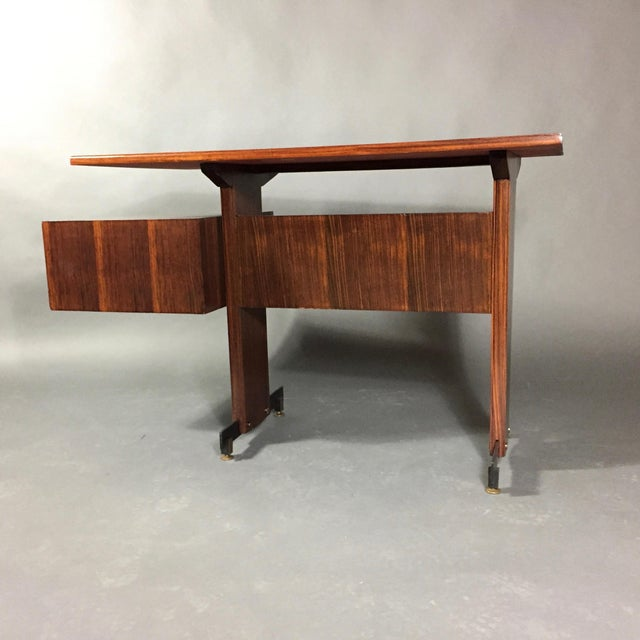 Midcentury Continental Mahogany Dressing Table or Small Desk For Sale - Image 4 of 10