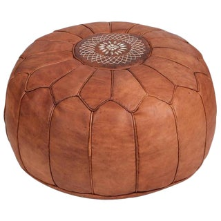 Vintage Moroccan Leather Pouf For Sale