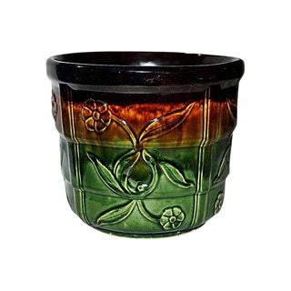 Drip Glaze Majolica Jardinière Bowl Pot For Sale