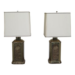 Ethan Allen Etched Brass Modern Table Lamps - a Pair For Sale