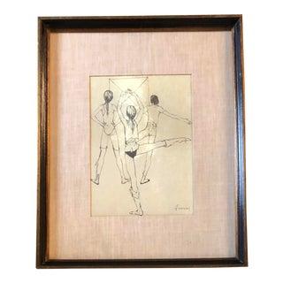 Original Jean Jansem Lithograph Ballet Study For Sale