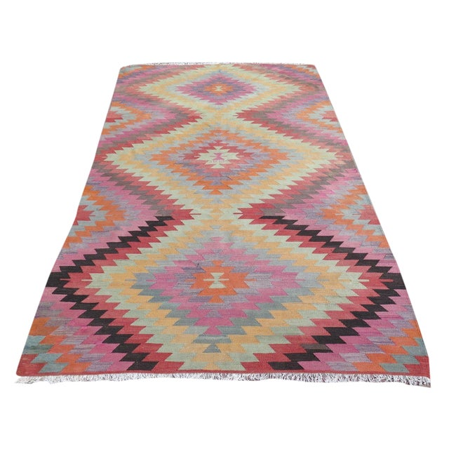 "Vintage Turkish Kilim Rug - 5'9"" X 9'3"" For Sale"