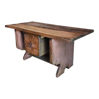 Rustic American Country Live Edge Wooden Bench For Sale