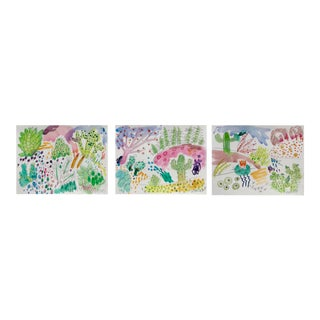 Cactus Garden Set of Three Watercolor Paintings For Sale