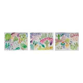 Cactus Garden Set of Three Watercolor Paintings