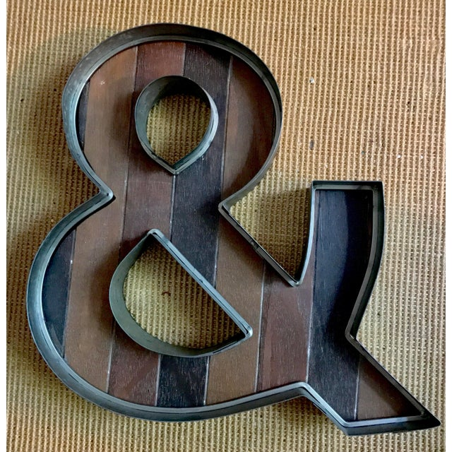 This large rustic yet modern corrugated metal and strip wood Ampersand sign can be used on its own or to connect to things...