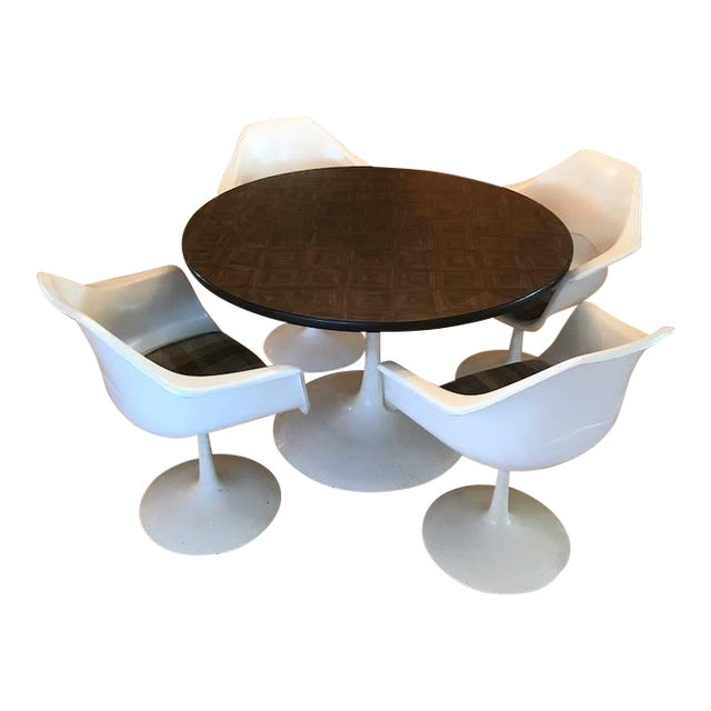 1970s Mid-Century Modern Tulip Table & Chair Set - 5 Pieces For Sale