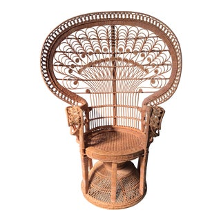 1970s Vintage Rattan Peacock Fan Chair For Sale