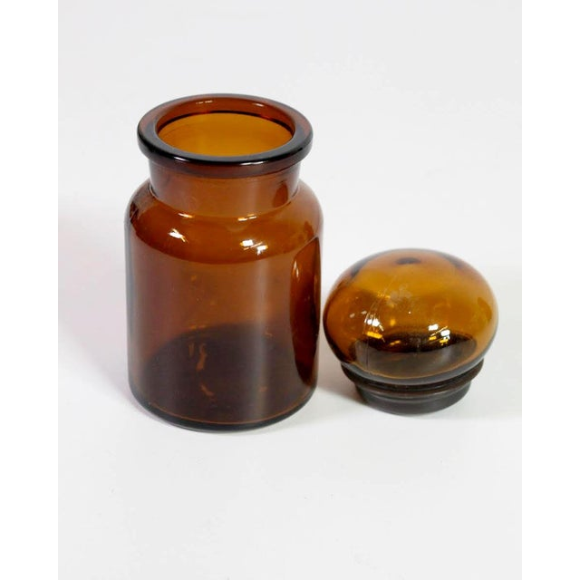 Traditional Belgian Amber Glass Apothecary Airtight Jars - Set of 3 For Sale - Image 3 of 7