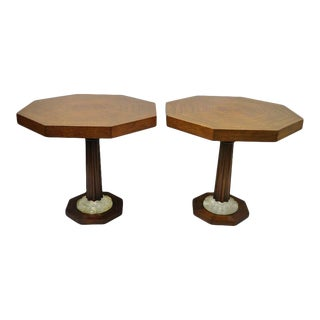 Art Deco Octagonal Mahogany & Lucite Pedestal Side Tables Grosfeld House - a Pair For Sale