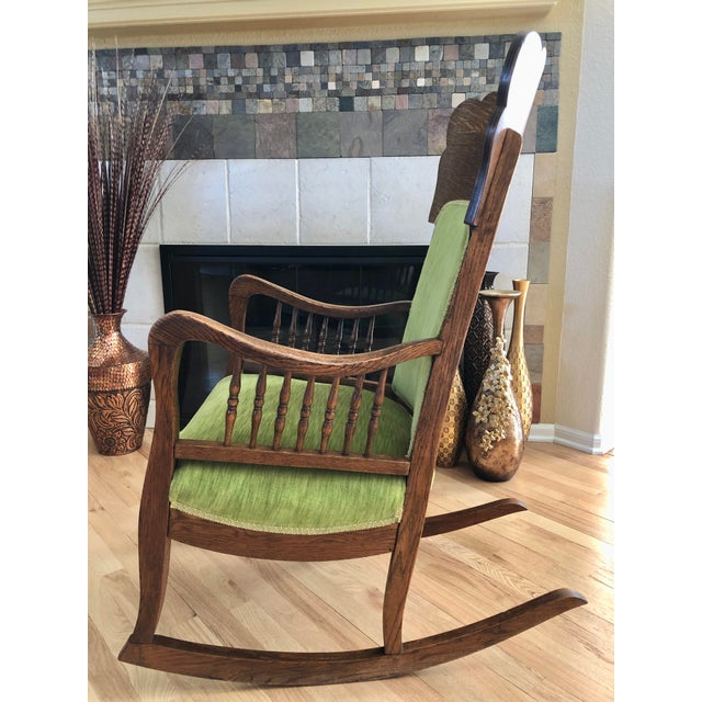Traditional Late 19th Century Antique Oak Wood Mortise and Tenon Upholstered Rocking Chair For Sale - Image 3 of 13