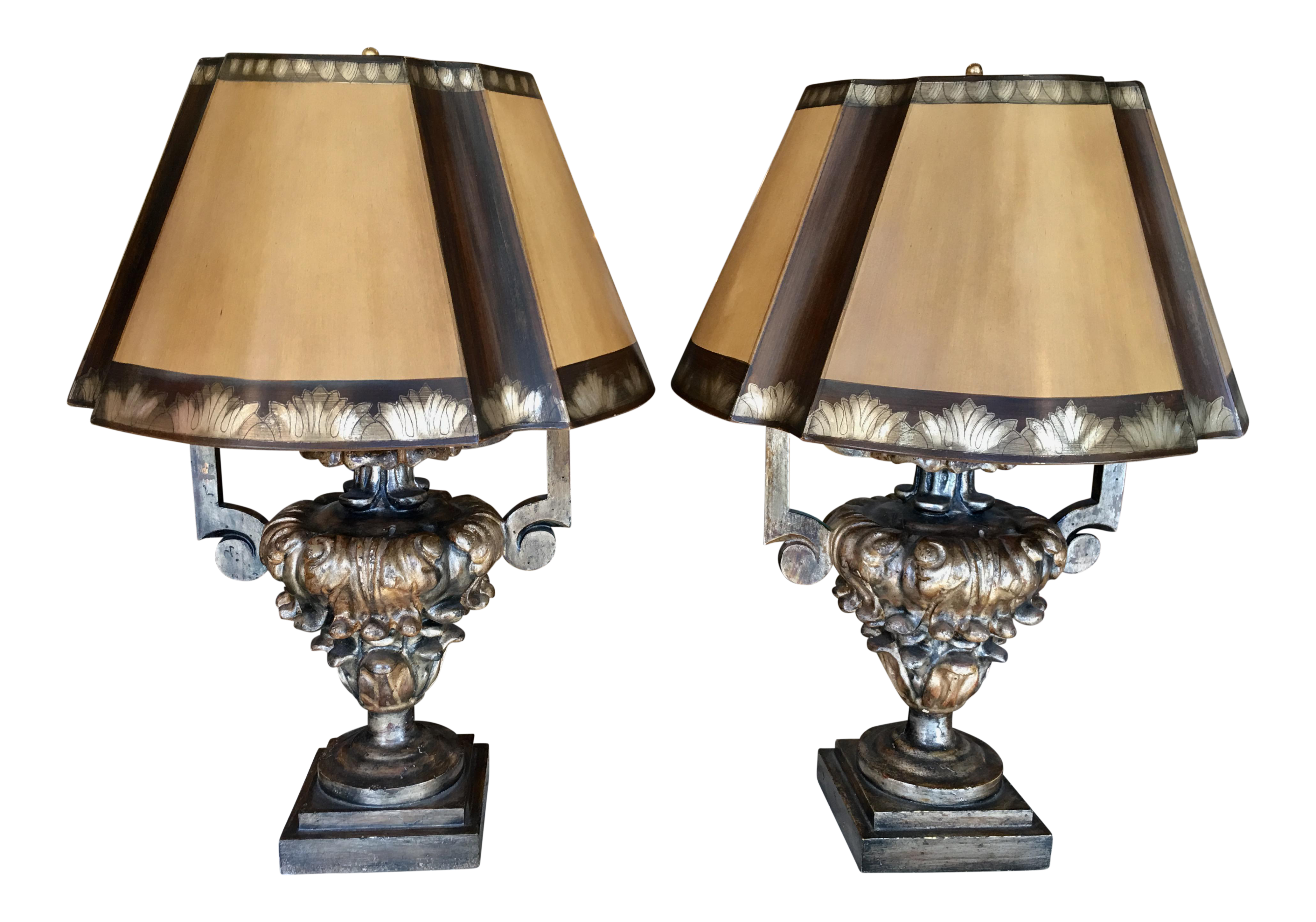 Antique Italian Giltwood Urn Table Lamps   A Pair