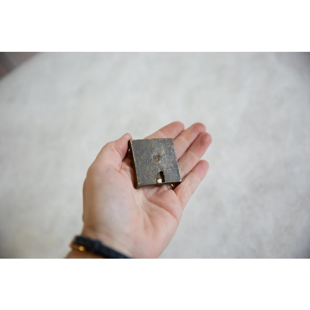 Old New House Vintage African Square Bronze Coin For Sale - Image 4 of 5