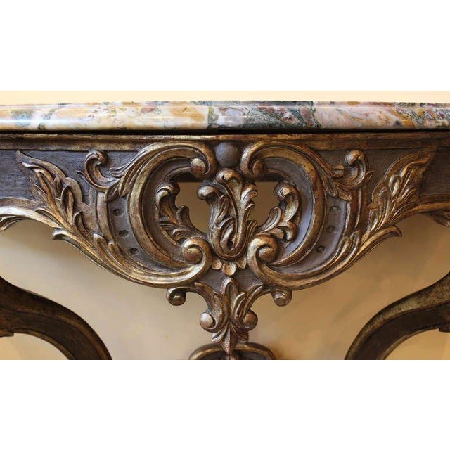 French Early 18th Century Antique French Louis XV Console Table For Sale - Image 3 of 7