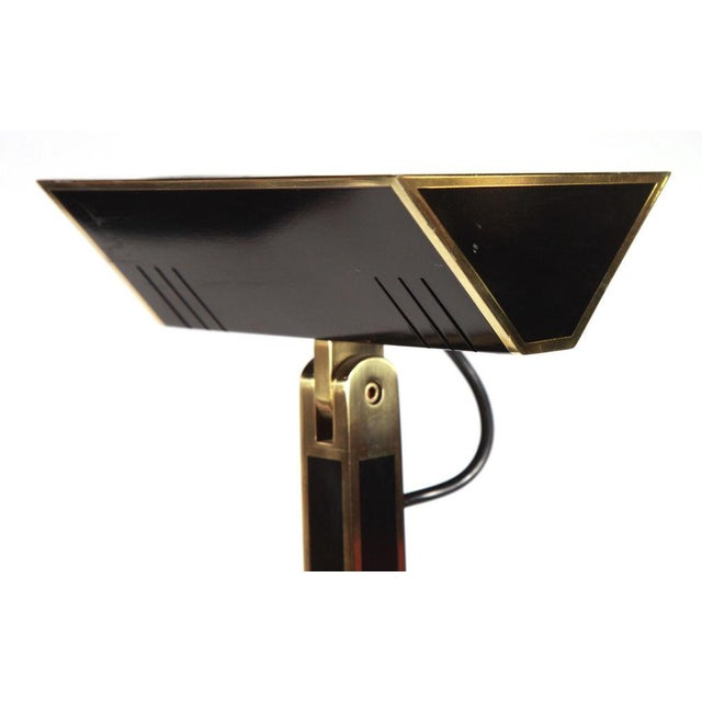 Contemporary Italian Tall Brass & Black Lacquer Torchiere Lamp For Sale - Image 3 of 6