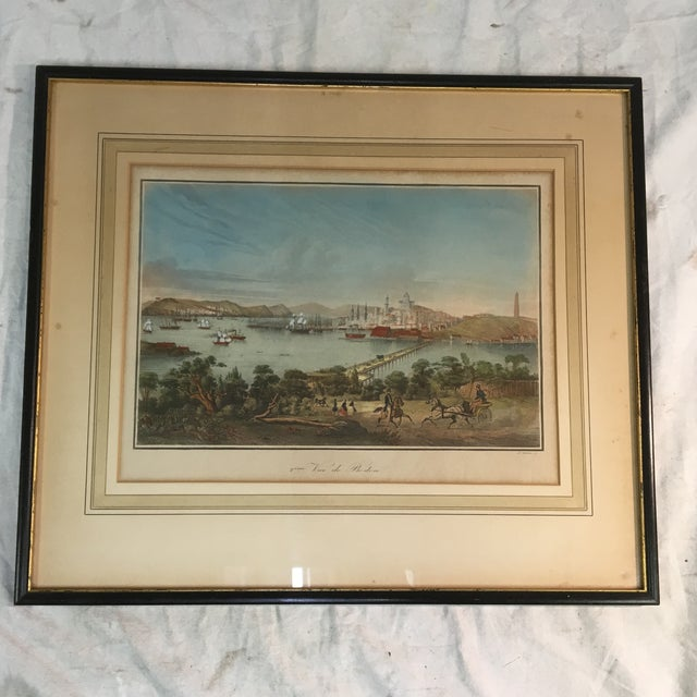 Paint Early 19th Century Lithograph of Boston (Deuxieme Vue De Boston) by Le Breton, Framed For Sale - Image 7 of 7