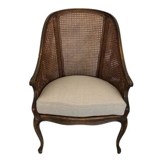 French Oak Caned Armchair For Sale