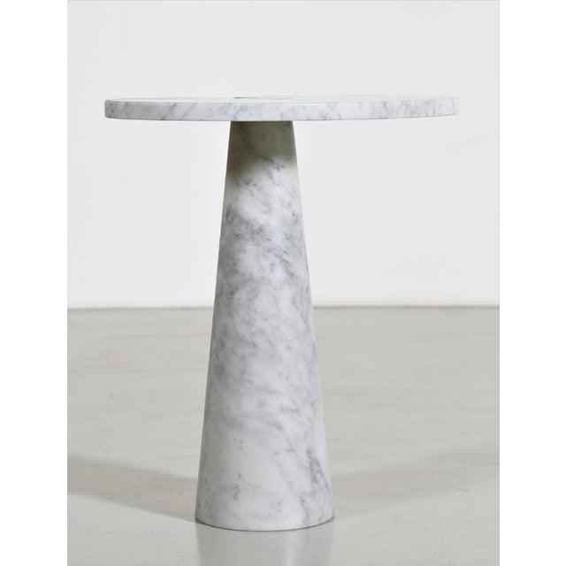 "Angelo Mangiarotti ""Eros"" white carrara marble side table or pedestal."