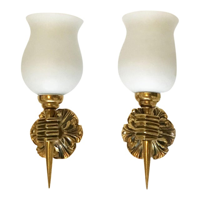 Vintage 1940s French Arbus Sconces - A Pair For Sale