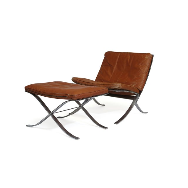 Steen Ostergaard Steel and Leather Lounge Chair & Foot Stool For Sale - Image 12 of 13