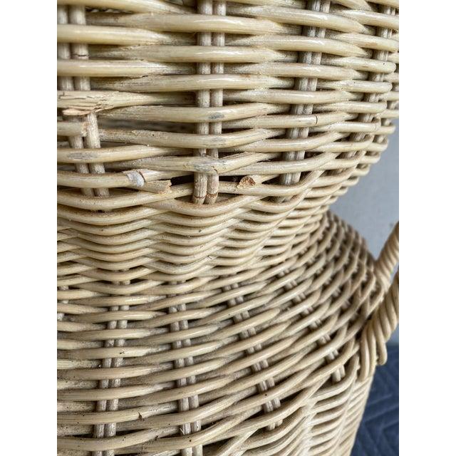 Wicker Vintage Coastal Wicker Elephant Basket For Sale - Image 7 of 13