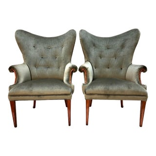Mid Century Wingback Chairs in Gray Velvet by Tomlinson Furniture—a Pair For Sale