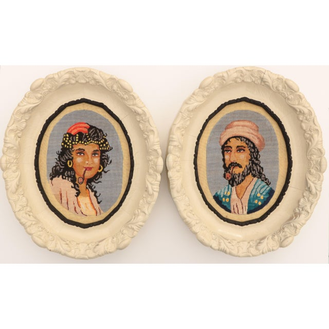 Cotton Bohemian Needlepoint Portraits - a Pair For Sale - Image 7 of 7