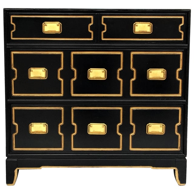 Vintage Black and Gold Dorothy Draper Style Chest For Sale - Image 11 of 11
