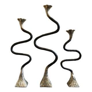 Oversized Brutalist Candlesticks, Set of 3 For Sale