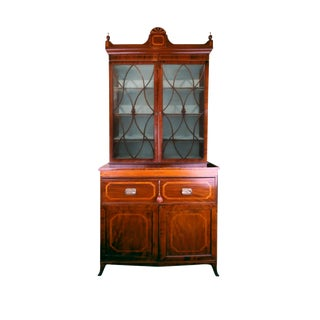 19th Century English Hepplewhite Regency Secretary Bookcase and Cabinet For Sale
