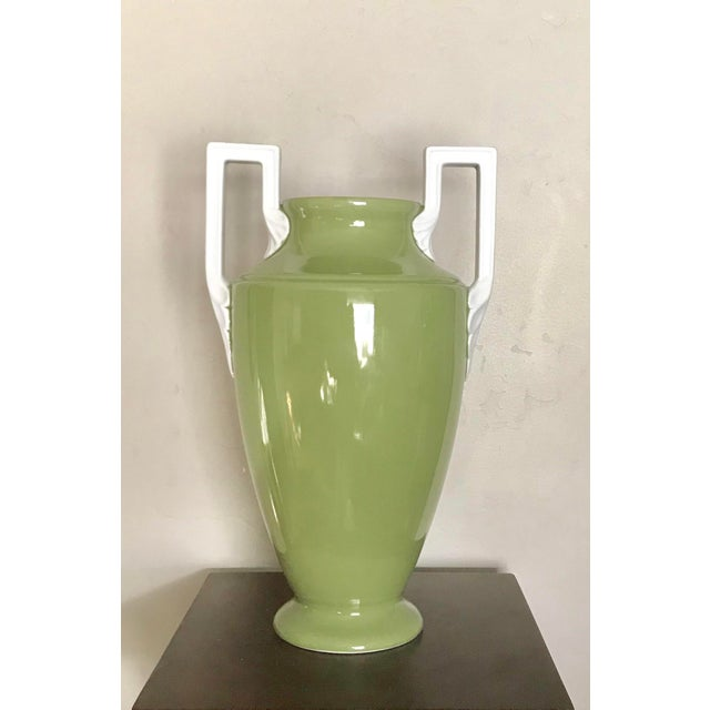 Early 21st Century Large Neoclassical Green Ceramic Vase With White Square Handles by Global Views For Sale - Image 5 of 5