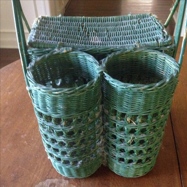 Vintage Green Wicker Picnic Basket - Image 5 of 11