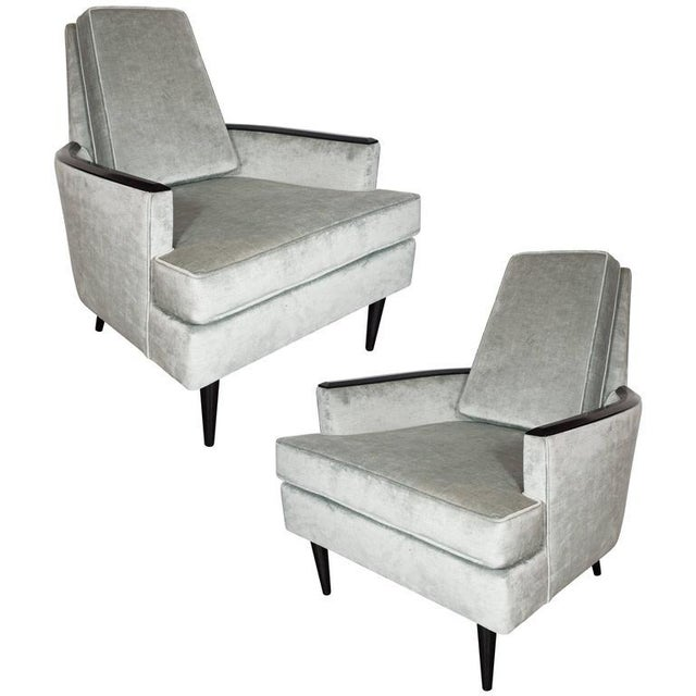 Pair of Mid-Century Armchairs in Smoked Platinum Velvet and Ebonized Walnut For Sale - Image 9 of 9