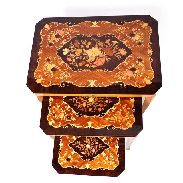 Italian Marquetry Inlay Music Box Nesting Tables For Sale