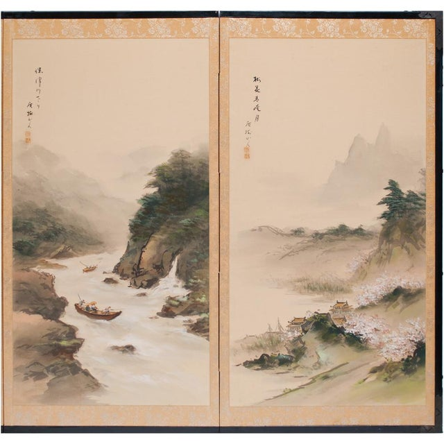 Asian C. 1920-1940s Japanese Four Landscapes Byobu Screen For Sale - Image 3 of 13