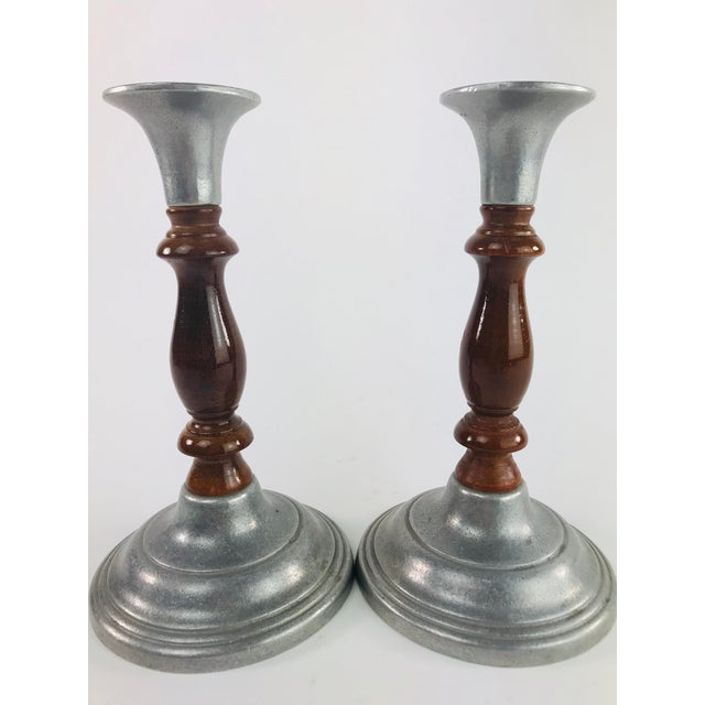 Brown Vintage Mid Century Wood and Pewter Candlesticks- A Pair For Sale - Image 8 of 9