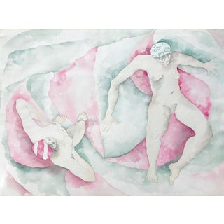 Bathers in Sage and Rose For Sale